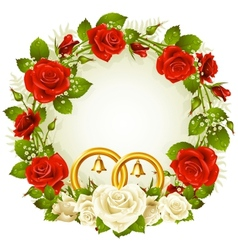 flower frame white and red rose vector image