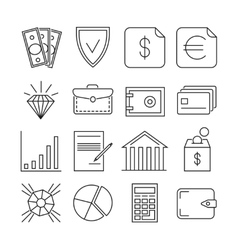 Money finance payments thin line icons vector image vector image