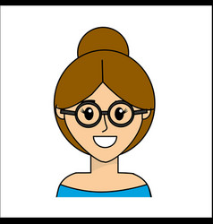 people happy face woman with glasses icon vector image