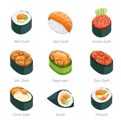 Sushi rolls icons vector image