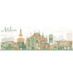 Abstract Milan Skyline with Color Landmarks vector image vector image