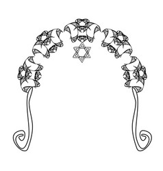 graphic chuppah arch a religious jewish wedding vector image vector image