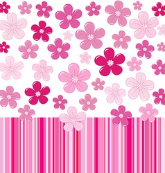 Pink background with flowers and stripes vector image vector image