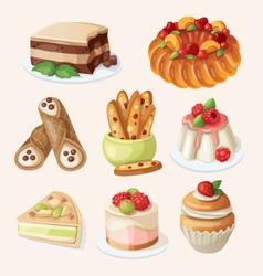 Set of italian desserts vector image