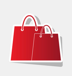 shopping bags sign new year reddish icon vector image vector image