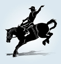 Silhouette of a rodeo rider vector image