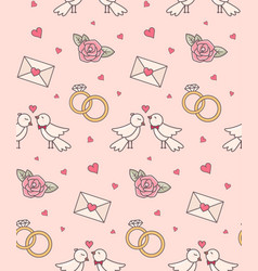 wedding objects seamless pattern vector image