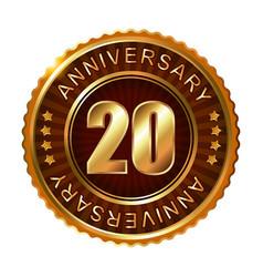 20 years anniversary golden brown label vector image