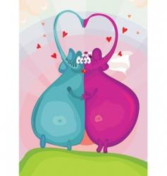 elephants in love vector image vector image