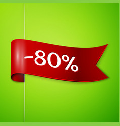 red ribbon with text eighty percent for discount vector image vector image