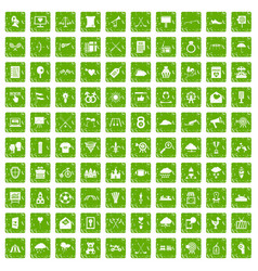 100 arrow icons set grunge green vector image vector image
