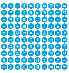 100 travel time icons set blue vector