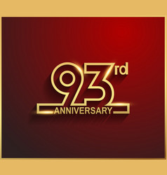 93 anniversary line style golden color vector