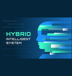 an of an hybrid intelligent system vector image