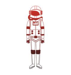 Astronaut wear equipment red lines vector