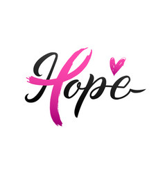 breast cancer awareness calligraphy poster vector image