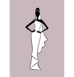 bride fashion sketch vector image