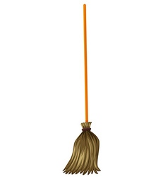 Broom with wooden stick vector