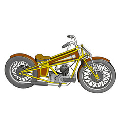 brown and yellow vintage chopper motorcycle on vector image