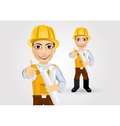 Builder with tape blueprints vector
