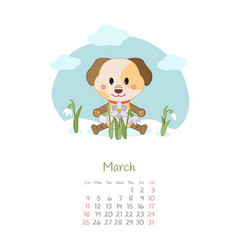 Calendar 2018 months march with dog vector