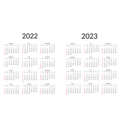Calendar for 2022 and 2023 vector