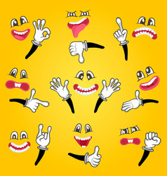 cartoon cute emoticon set vector image