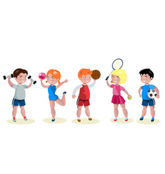 Cartoon kids sports characters set vector