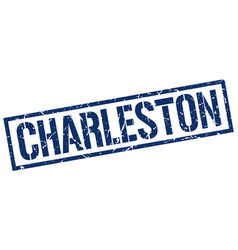Charleston blue square stamp vector