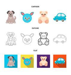 Children toy cartoonoutlineflat icons in set vector