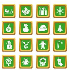 Christmas icons set green vector