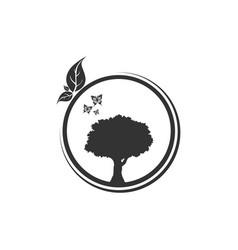 Circle tree logo design vector