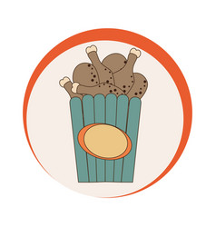 circular emblem with bucket fried chicken thighs vector image