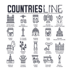country travel collextion set set of architecture vector image