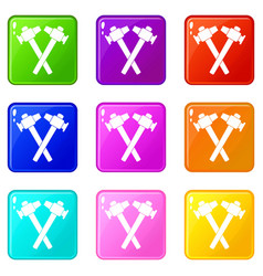 Crossed blacksmith hammer set 9 vector