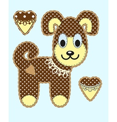 Cute cartoon dog in flat design for greeting card vector