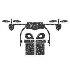 Drone Gift Delivery Grainy Texture Icon vector image