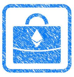 Ethereum business case framed stamp vector