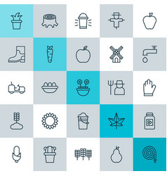 Farm icons set collection of fire tube vector