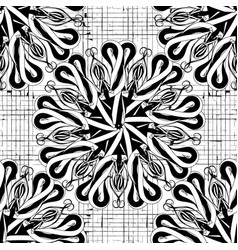 floral black and white abstract seamless vector image
