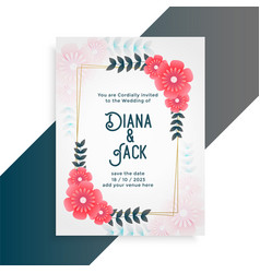 Flower wedding card invitation template vector