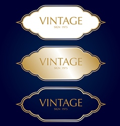 Gold vintage frame badges and labels background vector image
