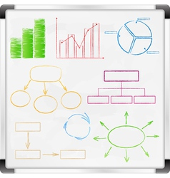 graphs and diagrams on whiteboard vector image