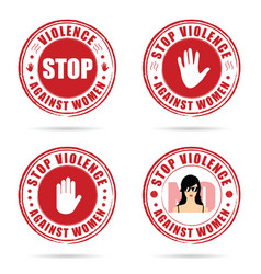 Grunge rubber stop violence against woman sign in vector