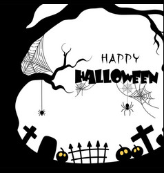 happy halloween tree grave web background i vector image