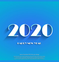 happy new year 2020 white text on blue background vector image