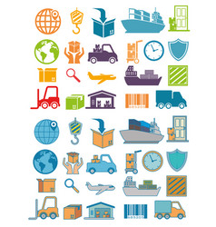 Import free shipping set icons vector