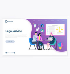 judge and client consultation online law vector image