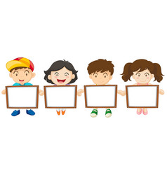 Kids holding white board vector