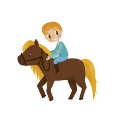 litlle boy riding a brown horse equestrian sport vector image